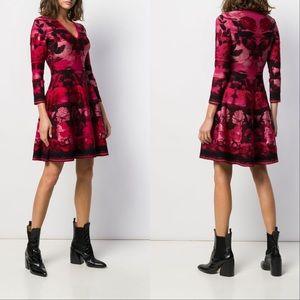 ALEXANDER MCQUEEN Blurred-Rose A-Line Dress